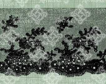 Digital Download Embroidered Net Lace, digi stamp, Gothic Black Lace, Antique Illustration, Crocheted lace, Use for textile pattern