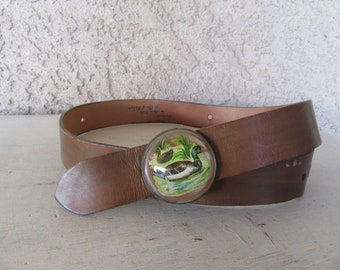 70s Burnished Leather Belt with Duck Buckle, Prismatic Buckle, Domed buckle, 1970s Vintage Leather Hippie Belt, 28-30 Waist