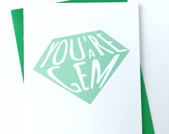 Süße Dankeschön-Karte, danke-Notiz-Karte für Freundin, denken Sie Karte, Smaragd grün, nur weil Wertschätzung Karte, Karte, lustige Karte