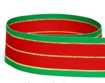 7/8 inch ( 22 mm )  Red / Emerald / Gold Striped Grosgrain Holiday Ribbon