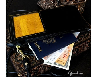 Cork Leather Passport Cover, Yellow Passport Holder, Wristlet Passport Wallet, Passport Case, Travel Wallet, Gift for Her, Eco-friendly