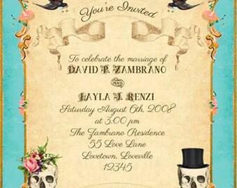 Turquoise Boho Printable DIY Wedding Invitation Suite - Gothic Victorian Gypsy Skulls &  Roses - Customized Vintage Wedding Invitation Suite