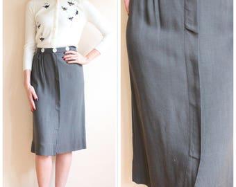 1940s Skirt // Gray Linen Pencil Skirt // vintage 40s skirt
