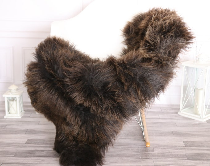 Sheepskin Rug   Real Sheepskin Rug   Shaggy Rug   Scandinavian Rug     SCANDINAVIAN DECOR   Black Brown Sheepskin #OLHER3