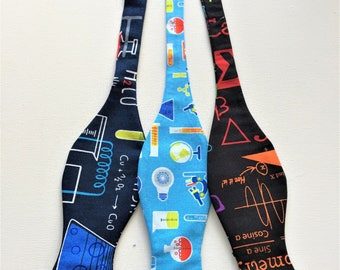 Chemistry Science Bow Ties.  Sold Individually: Neon Formulas, Beakers on Bright blue, Chemistry on Navy. Scientists Geeks Nerds Chemists.
