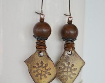 Primitive Earrings, Rustic Jewelry, Art Bead Earrings, Brown Earrings, 3 inch Earrings, Unusual OOAK Earrings, Ceramic Slab Earrings