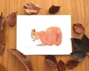 Squirrel watercolour, original painting squirrel art, woodland animals art, nursery decor, nursery art, squirrel artwork, squirrel original