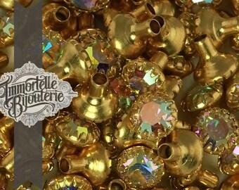 24SS Swarovski Metal Rhinestone Rivets Crystal AB - Vintage Austrian First Quality Crystal - NO BACKS - 12 pcs