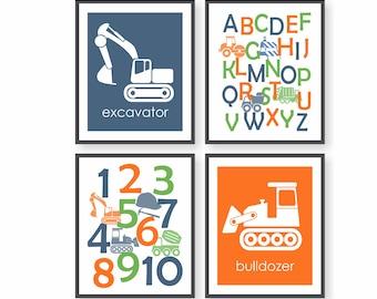 Construction Wall Art - Number Art, ABC Art, Excavator, Bulldozer, Kids Alphabet Print, Playroom Wall Art, Construction Vehicles
