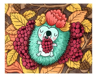 Autumn Hedgehog - Hedgehog Print Nursery Art Autumn Leaves Art Hedgehog Art Hedgehog Illustration Baby Nursery Animal Art Print Woodland art
