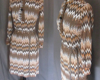 Vintage 1970s Missoni - esque Zig Zag Dress with ascot 70s dress in white, black, brown and tan size Medium