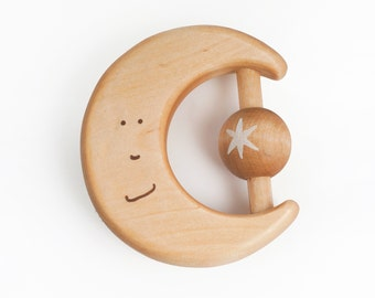Organic Baby Toy, Wooden Teether, Wood Rattle, a Moon, Natural Wood Toys