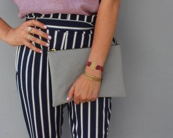 Gray Vegan Clutch, big Clutch,  Clutch Bag, Women's Clutch, VEGAN Clutch Bag
