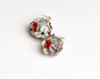 Lilac & white flowers lampwork earrings, glass flowers earrings, pink white flowers, blossom earrings, floral earrings, nature earrings