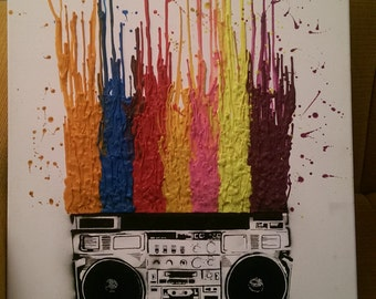 Ghettoblaster crayon painting