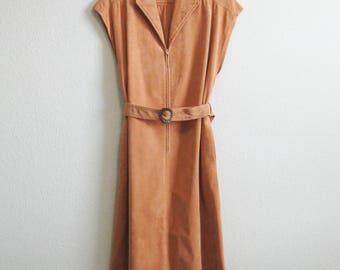 Christian Dior Dress Boho Large Suedecloth   Sleeveless Belted Caramel Light Brown Summer Dress