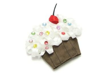 Satin Cupcake Hair Clip, Cupcake Clip, Kawaii Cupcake Barrette, Cupcake Clippie, Swarovski Crystals, Newborn Baby Toddler Girl