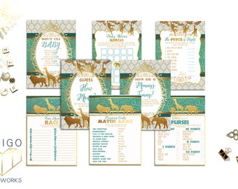 Teal and Gold Safari Baby Shower Games Package, Printable Games Safari Baby Shower Games,  Neutral Baby Shower Games Bundle Instant Download