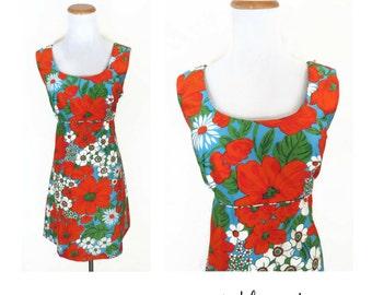 Hawaiian Dress Tropical Sundress Mini 60s 1960s Summer Tiki Party Orange Floral Mod Polynesian Size Medium 70s 1970s
