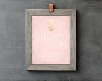 Pink Mimosa Bar Sign, Mimosa Bar Printable, Wedding PDF, Pineapple Wedding Sign, DIY Bridal Shower Decor, Brunch Bubbly, Bridal Shower Sign