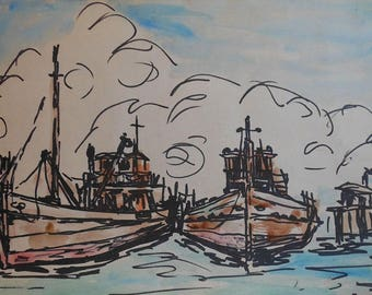 vintage watercolor of tug boats and dock