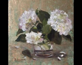 Bouquet white hydrangeas in vase on a background gold