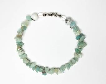 Amazonite Bracelet, Amazonite Stone Bracelet, Amazonite Chip Gemstone Bracelet, Amazonite and Howlite Bracelet, Amazonite Set, Gemstone Gift