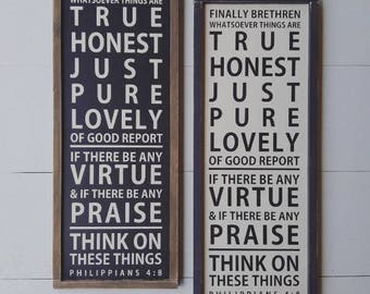 Philippians 4:8, Scripture Sign, Subway Sign, Framed Sign, Farmhouse Style, Black and White, Modern Farmhouse