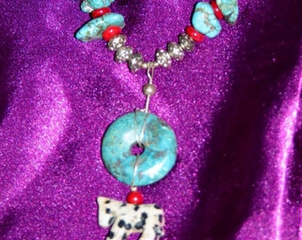 Turquoise with Horse pendant necklace