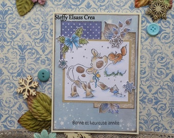 Cow card squirrel mouse snowflake happy new year