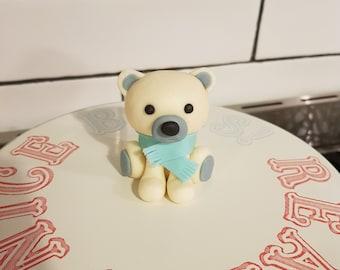 Polar Bear with Scarf Winter Wonderland Fondant Cake Topper