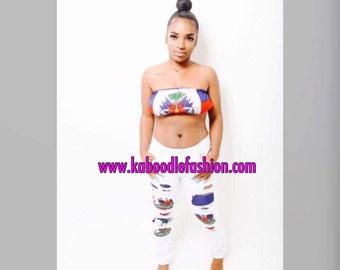 HaitianFlag Crop top + Hole Pencil Pants Ripped Jeans