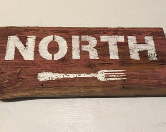 North Fork sign on reclaimed barn wood