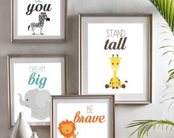 Zoo Animals Nursery Room Art, Nursery Quote Prints, Safari Nursery Decor, Baby Shower Gift, Newborn Gift, Kids Room Art, Wall Art - Set of 4