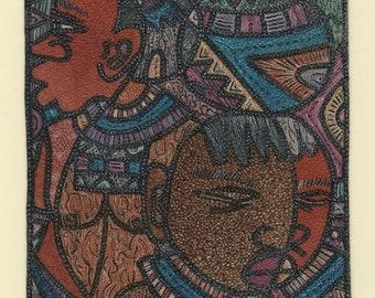 "JOHN B. MAINGA (Kenyan, 1954-2000), ""Deep Thoughts"", 1978, leather batik (dyed leather), signed."