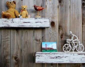 """Beach Decor Floating Shelf Rustic Barn Wood Wall Ledge Wooden Wall Mounted Shelf Floating Wall Shelves Farmhouse Decor Chunky Shelves, 48"""""""