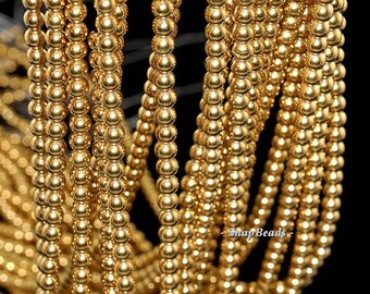 4mm Gold Hematite Gemstone Gold Round 4mm Loose Beads 16 inch Full Strand BULK LOT 1,2,6,12 and 50 (90147041-148)