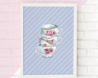 Printable Teacup Wall Art, Tea Time Digital Print, Tea Party Wall Decor Watercolor Cup of Tea Kitchen Wall Print Cup Saucer Kitchen Wall Art