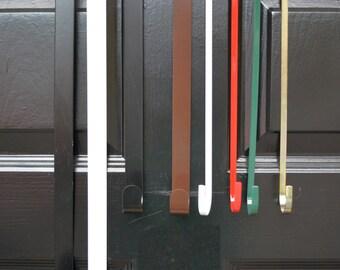 Thin Door Wreath Hanger, Front Door Hook, Wreath Hangers for Wreaths, Metal Door Hook, 18 and 15 inches long, Made in the USA
