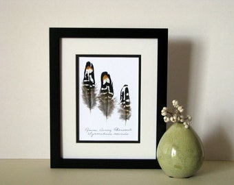 """Feather print, 8"""" x 10"""" matted, nature feather art, Reeves Venery Pheasant, golden yellow, no. 001"""