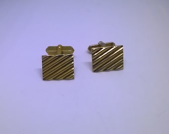 Vintage Swank Gold Tone Cuff links Square Rectangle Men's Accessory