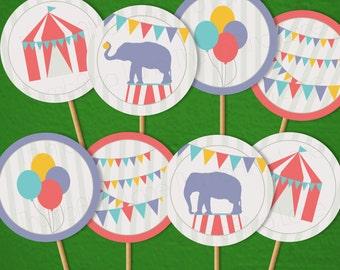 Carnival Circus Printable Cupcake Toppers, Instant Download - Digital File, Printable, DIY