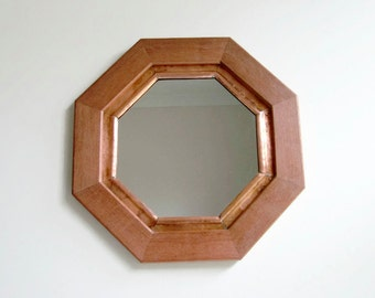 Mahogany and Copper Octagonal Mirror,  Wall Mirror, Decorative Wall Mirror, Rustic Decor, Wood Frame, Copper Frame, Metal Mirror, Reclaimed
