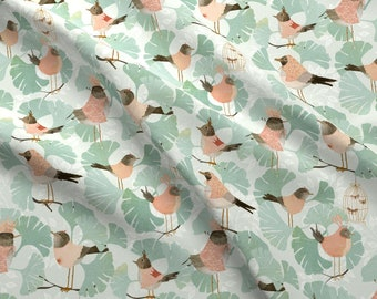 Ginkgo Birds Fabric - Ginkgo Birds By Katherine Quinn - Ginkgo Tree Birds Animals Crown Nature Cotton Fabric By The Yard With Spoonflower