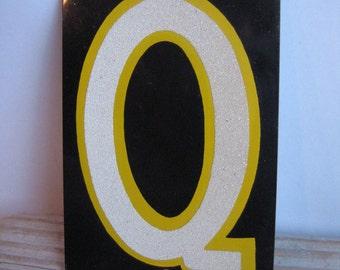 vintage metal sign letter Q reflective