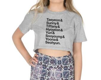 Girls Generation Names Crop T-shirt Top Shirt Tee Cropped Fashion Fangirl Kpop
