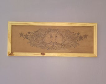 Sun and stars painting, pyrography, wood, home decoration.