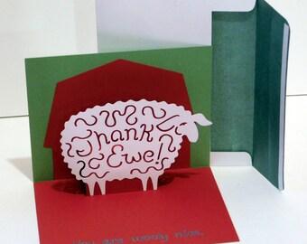 Thank you popup card, Greeting card, Thank EWE, Sheep