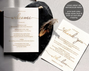 Gold printable wedding itinerary template, guest welcome letter, 2 sided card | Wedding weekend favor ideas