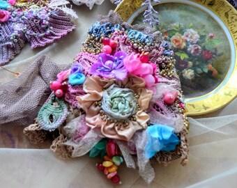 Bohemian wrist wrap cuff bracelet shabby chic cuff beaded embroidered gypsy fairy artsy cuff mori girl Marie Antoinette